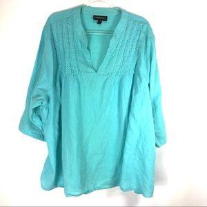 Lane Bryant Top Cotton V Neck 3/4 Sleeve Size 28